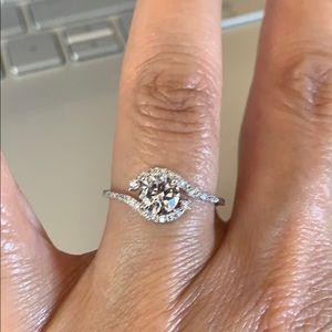 0.85CT Round CZ Engagement Ring